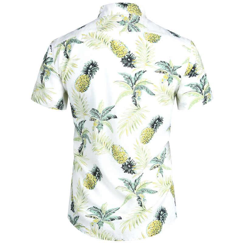 Темно-синие ананас гавайская рубашка 2019 летние мужские короткий рукав рубашки Тропический цветочный гавайская рубашка мужской Camisa социальных