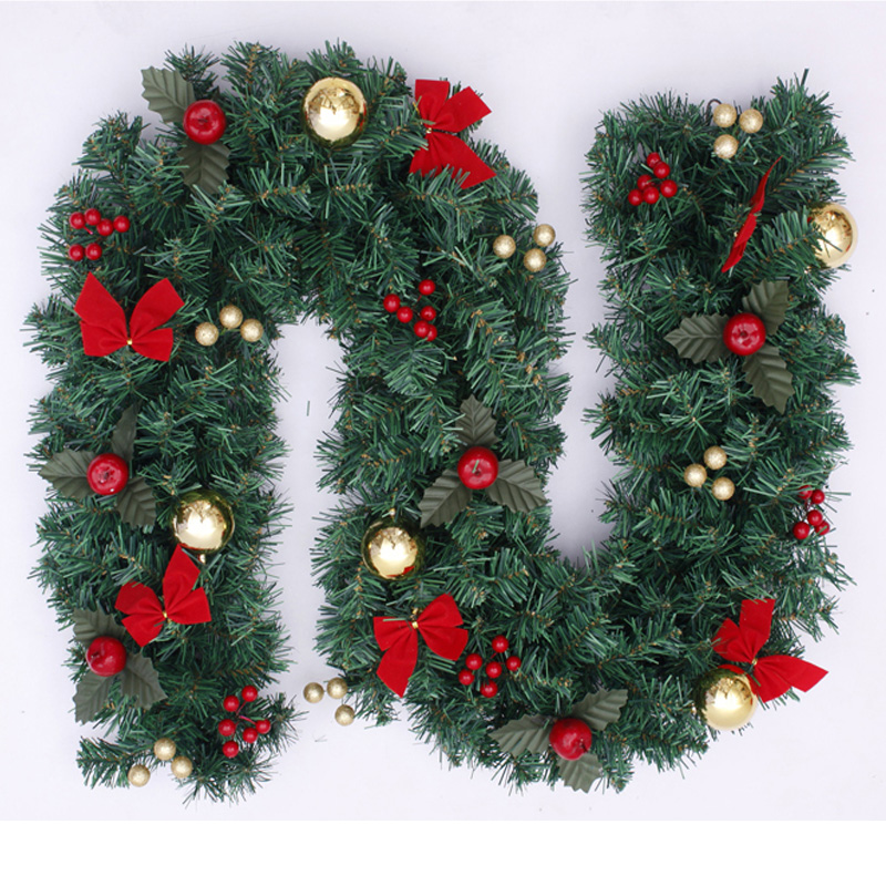 270 cm christmas rattan green christmas decoration mantle for California floral and home christmas decorations
