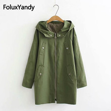 Solid Casual Trench Coat for Women Plus Size 3XL Hooded Loose Long Trench Outerwear KKFY2688 women trench loose coat autumn winter outfit hooded casual long windbreaker trench coat female business outerwear plus size