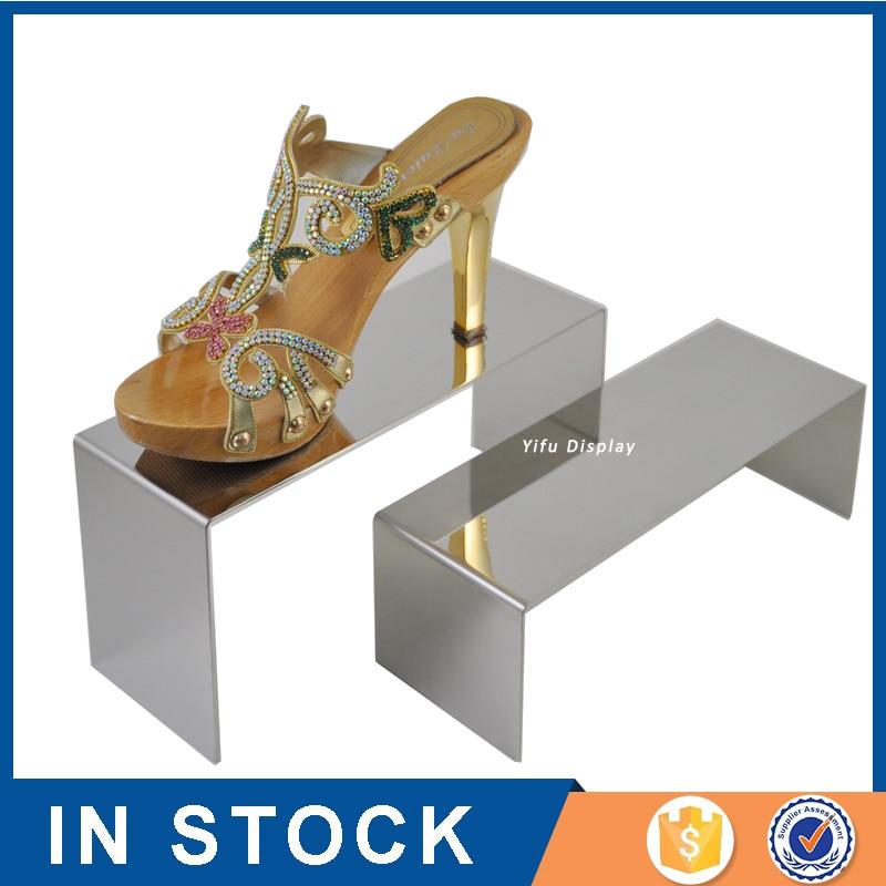 2 kpl asettaa metalli kulta hopea kenkä Dispaly Riser kenkä näyttö hyllyt