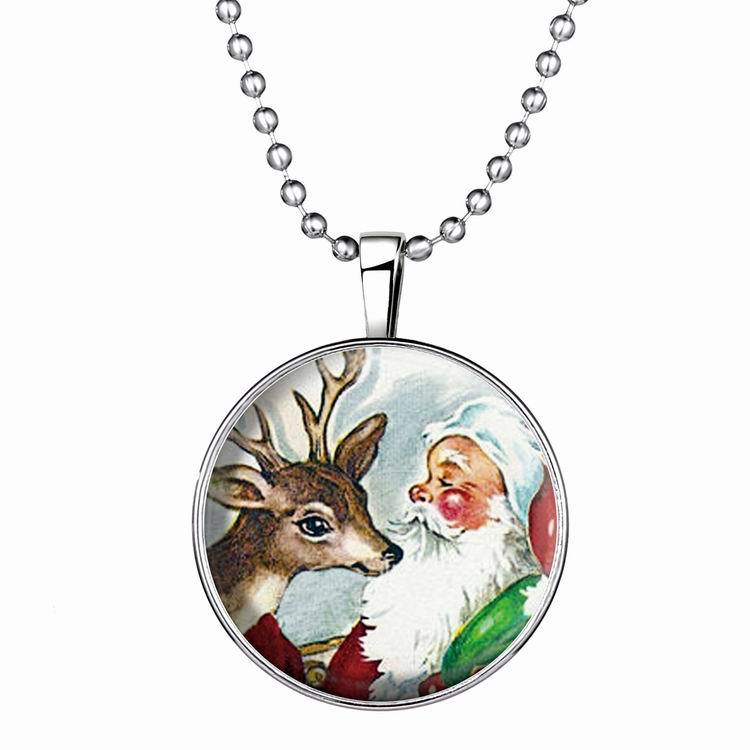 Christmas snowman Deer luminous Pendant Necklace Silver plated for Women Sweater necklace Alloy Christmas Birthday Gift