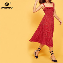 ROHOPO Summer Red Chiffon Elegant Midi Dress Spaghetti Strap Polk Dot Flared Slip Side Ruffles Pleated #YY476C