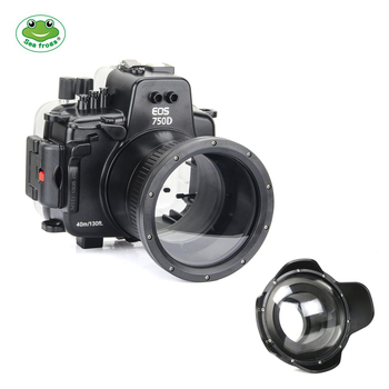 Meikon 40M/130FT Underwater Waterproof Housing Case for Canon EOS 750D (18-135MM) w/ Wide Angle Dome Port
