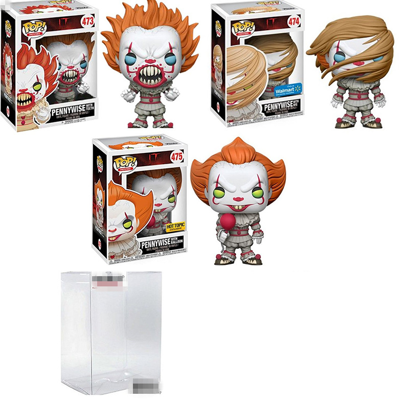 Exclusive FUNKO POP Official Horror: IT Pennywise With Wig, Balloon, Teeth Vinyl Action Figure Collectible Model Toy In Stock hannibal funko figure will graham funko pop vinyl figures funko 3 75 vinyl figures hannibal pop funko doll toy