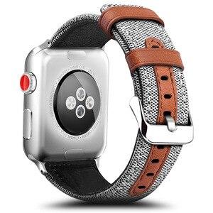 Image 1 - Модный тканевый и кожаный ремешок для Apple Watch 38 мм 42 мм Браслет для Apple iWatch 40 мм 44 мм Серия 1 2 3 4 5 ремешок для часов