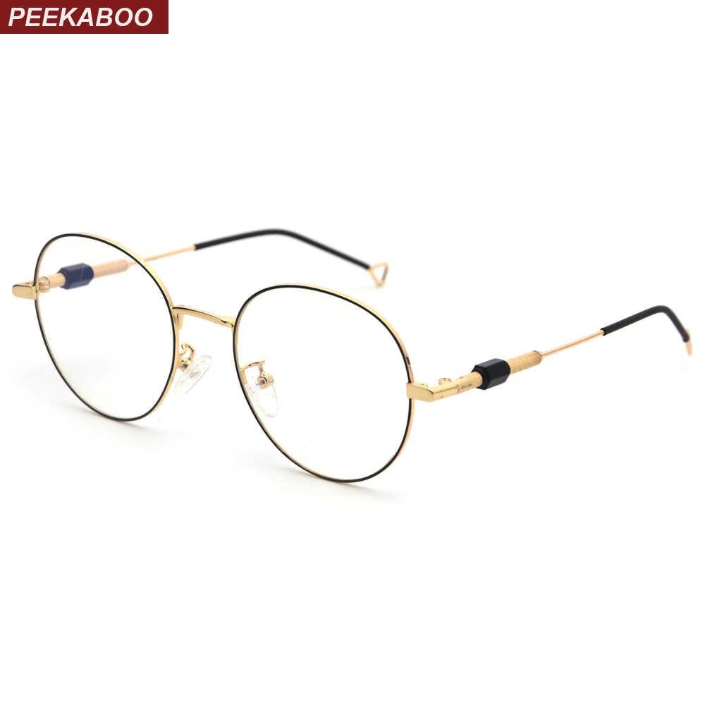 c7c8cda28d Peekaboo men round glasses for women retro 2019 clear lens metal frame  eyewear optical frames high