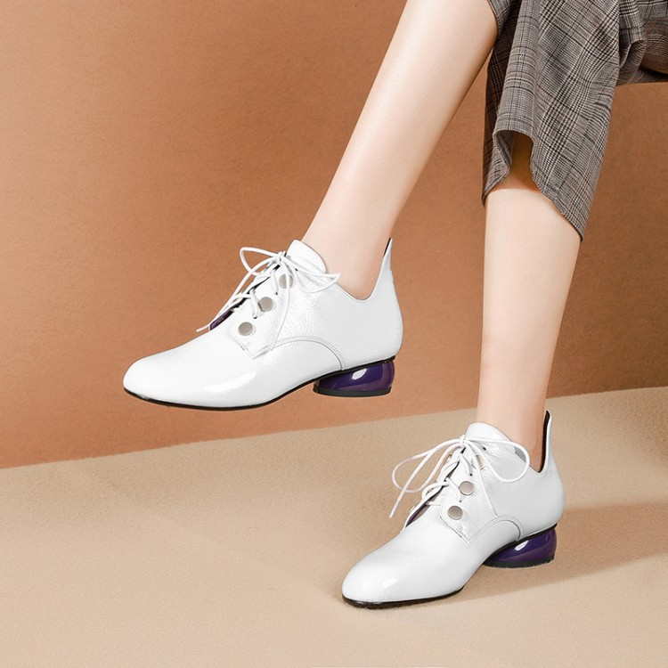 MLJUESE 2019 women pumps autumn spring patent leather lace up strange heel low heels lady shoes party dress wedding size 34-42