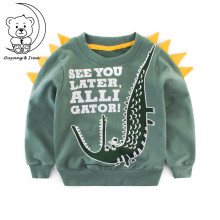 2017Autumn childrens clothing boys sweater baby long-sleeved with cartoon pattern sportswear casual wear green sweatshirt RU023