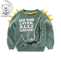 2018Autumn Childrens Clothing Boys Hoodies Baby Long Sleeved Cartoon Pattern Sportswear Casual Style Green Sweatshirts RU023