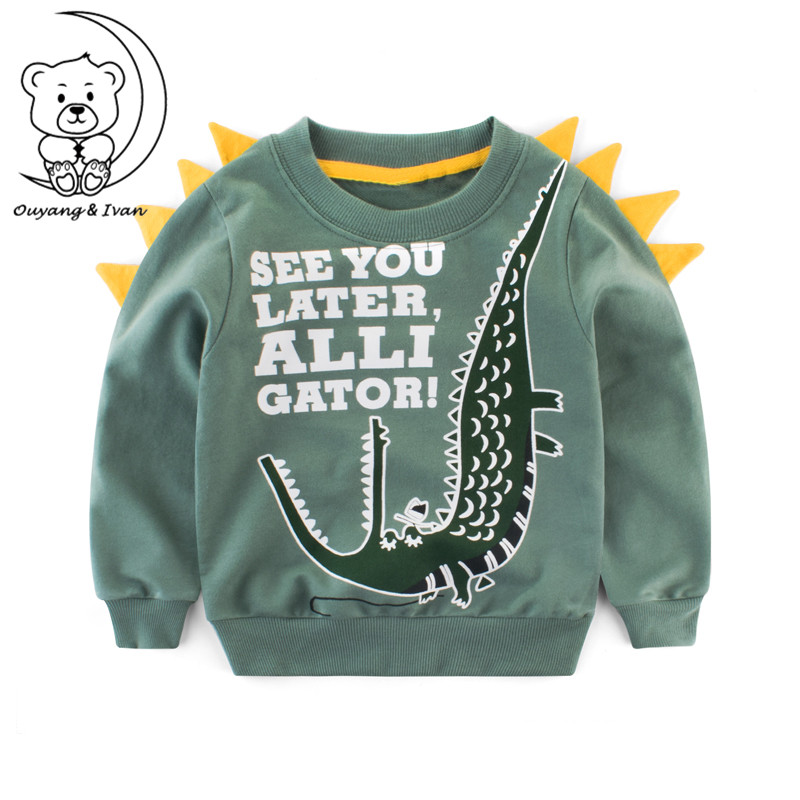 2018Autumn childrens clothing boys Hoodies baby long-sleeved cartoon pattern sportswear casual style green sweatshirts pullover