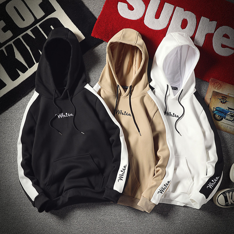Hoodies Men Casual Men's Sportswear Hip Hop Men White Printed Thick Warm Fleece Hooded Sweatshirt Men High Streetwear M-4XL 2019