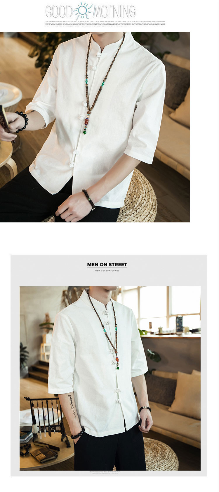 Chinese style summer fashion man's Pure color linen Short sleeve shirt high-grade male comfortable slim fit leisure shirt M-5XL 44