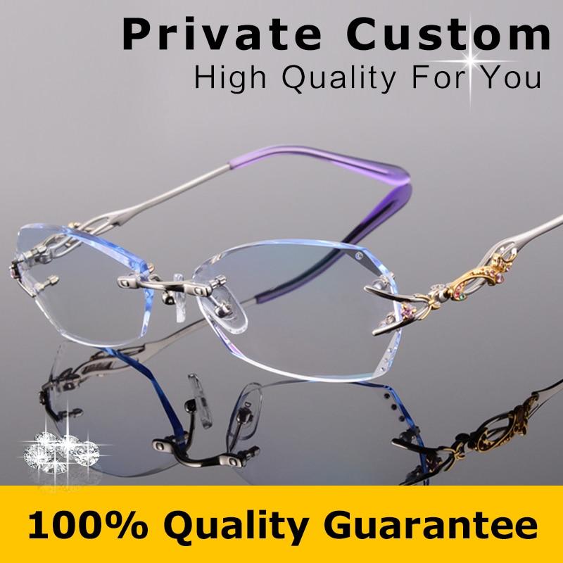 e0db9034f Qualidade de luxo titanium quadro + 1.61 lentes míopes óculos feminino  óculos sem aro mulheres/óculos para presbiopia oculos de grau 618 em  Armações de ...