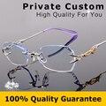 Qualidade de luxo titanium quadro + 1.61 lentes míopes óculos feminino óculos sem aro mulheres/óculos para presbiopia oculos de grau 618