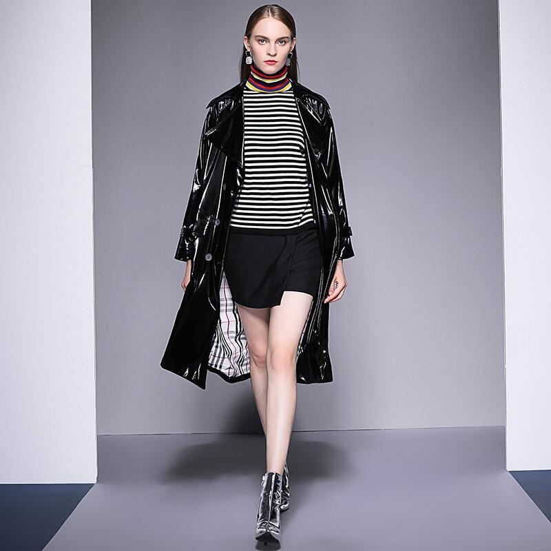 Solide Double Et Femmes Manteau Tranchée Hiver Breasted Black De 2018 Couleur Lumineux Mode Noir Automne UPt8qngw