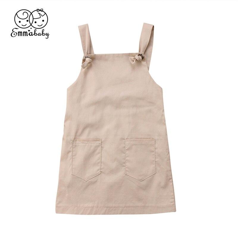 Baby Girls Strap Dresses 2018 Summer Fashion Baby Girl khaki Overall Dress New Child Suspender Vest Jumper Strap Jumpsuits Dress