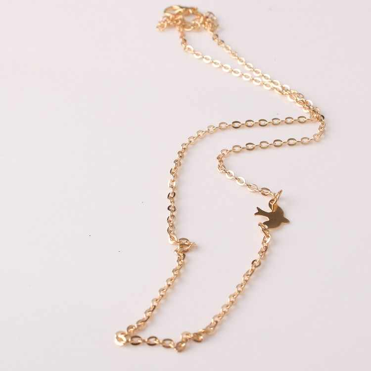 Hot Fashion Plated Simple Chain Bar Necklace Peace Dove Charm Pendant Necklaces women gift Ladies Choker Necklace