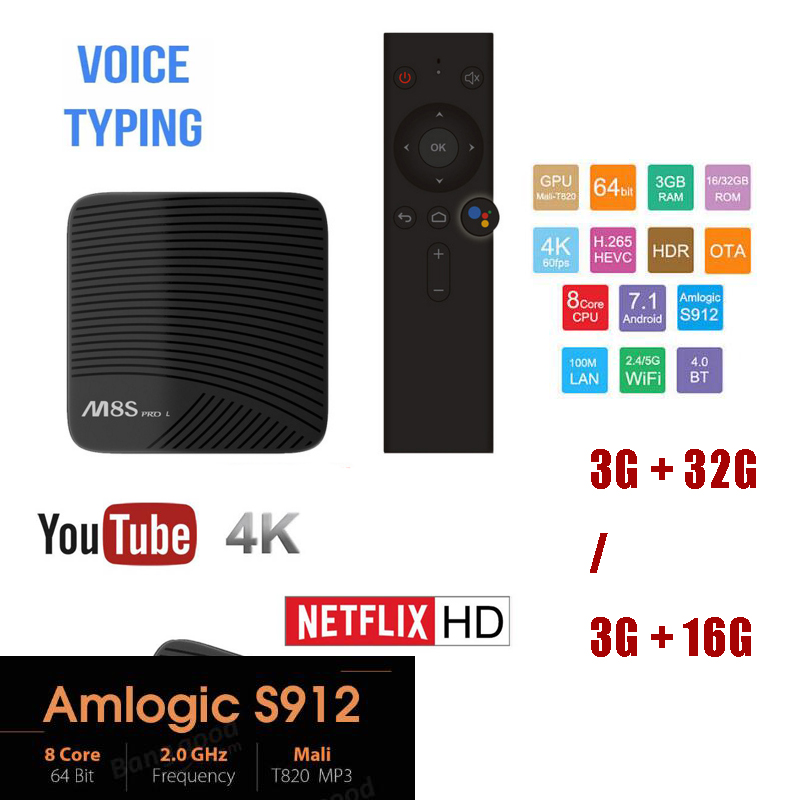 цена Mecool M8S PRO L 3GB 32GB/16GB Voice Control TV Box Android 7.1 Amlogic S912 Octa Core Bluetooth 4K Set-top Box HDMI m8s pro l