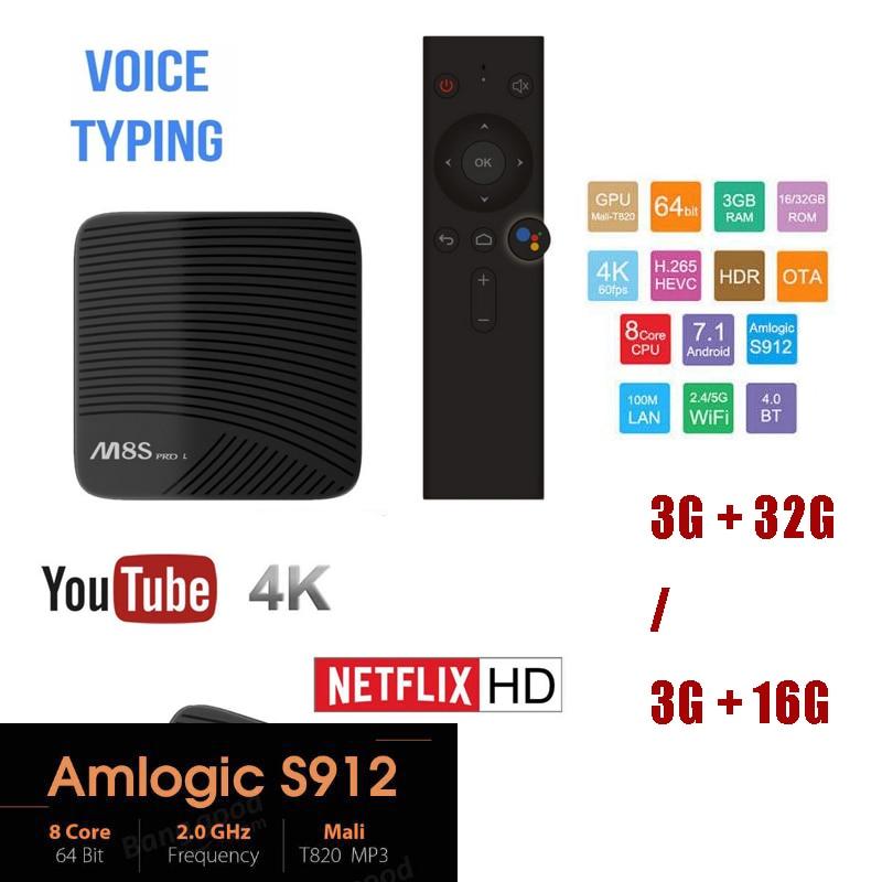 Mecool M8S PRO L Commande Vocale TV Box Android 7.1 Amlogic S912 Octa Core Bluetooth 4 k Set-top boîte HDMI 3 gb 32 gb m8s pro l