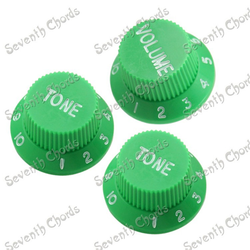 10 Set Green & Mauve Replacement Volume Tone Control Knob for Electric Guitar of 1set