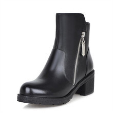 Winter Genuine Leather Women Ankle Boots High heels Fashion Platform Ladies Sexy Woman Black fashion ankle