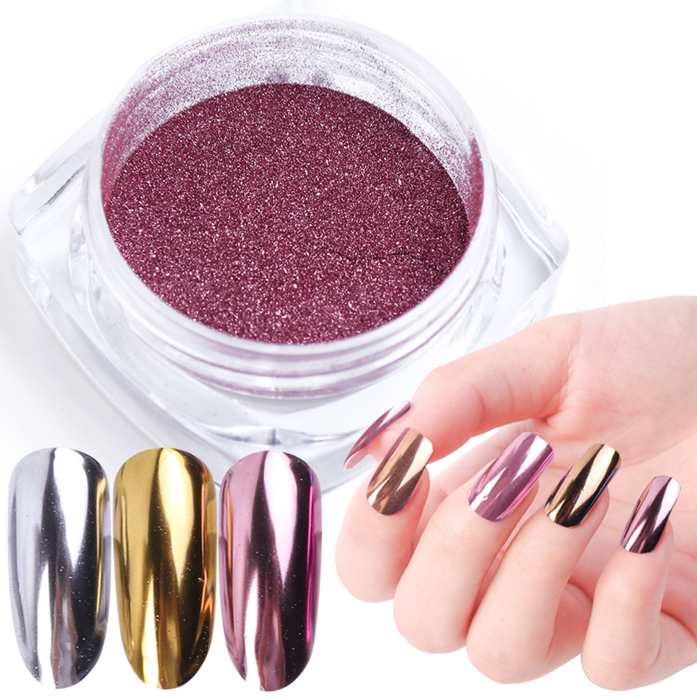 1 шт. дизайн ногтей зеркальный пигмент Порошковые блестки для ногтей Пудра для напыления розовое золото блестящий хромовый косметическая п...