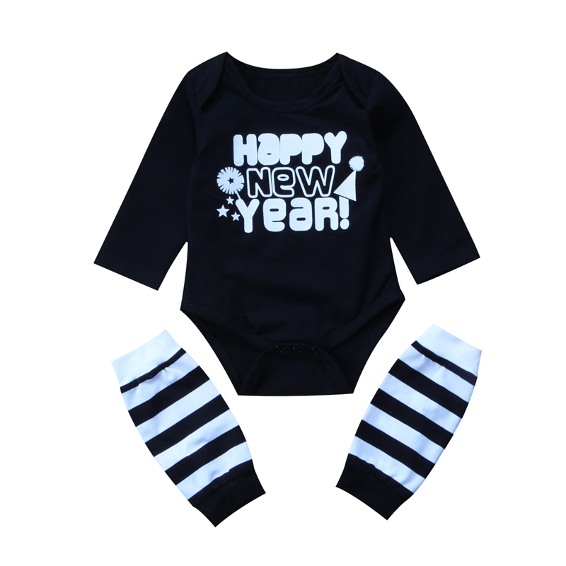 Baby Cotton Romper+Leg Warmers 2017 New Happy New Year Print Jumpsuit Newborn Long Sleeve Body Suit 2PCS Baby Boy Girl Clothing