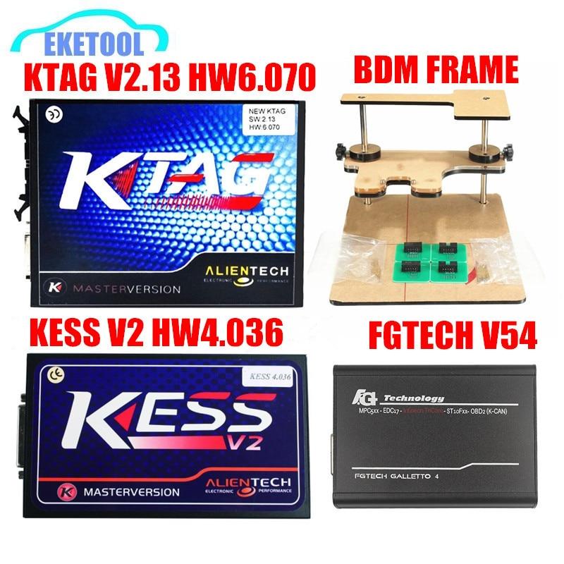 Цена за Лучший + качество KTAG V2.13 HW V6.070 BDM кадр KESS V2 V2.32 HW V4.036 FGTECH V54 Авто ЭКЮ чип Полный комплект без маркеров Limited
