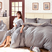 Pure fashion bedding Keep warm Coral Fleece Fabric Four piece suit