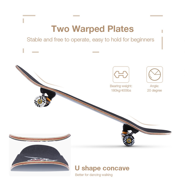 PUENTE 608 ABEC - 9 Adult Four-wheel Skate Board Double Snubby Maple Skateboard Long Board 4 Colors 4