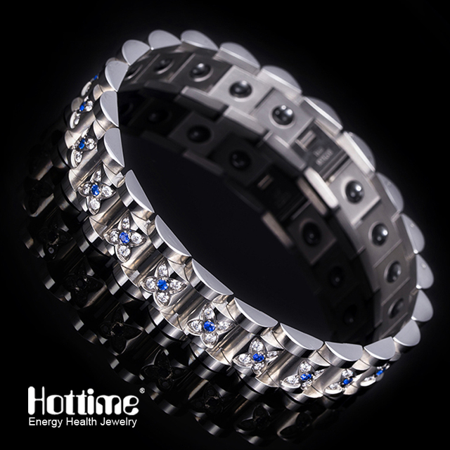 Hottime Luxury 2 Color Blue Pink Crystal Stone Health Bangles Fashion Jewelry 316L Stainless Steel Men's Gift Bracelets 10094