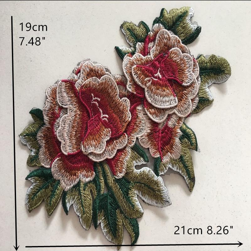 1ks 3D Pivoňka vyšívané nášivky Flower nášivka Organza látkové nášivky našité na šaty na šaty šaty nášivky příslušenství červená
