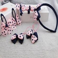 Helen115 Lovely 7Pcs Set Baby Kids Girl Polka Dot Bow Barrette Hair Band Accessories Headwear