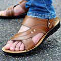 Высокое качество нового 2017 мужчины сандалии из натуральной кожи случайные летняя обувь мужчины тапочки мягкое дно сандалии для человека бесплатная доставка