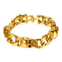 Kpop Men Bracelets Gold Silver Black Color Fashion Jewelry 22cm Length Gothic Skull Head Punk Bracelet