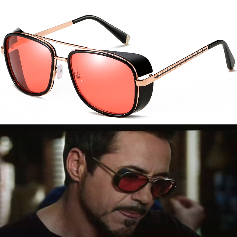 Tony stark Sunglasses Iron Man Eyewear Steampunk Vintage oculos Retro Women Sun glasses gafas Lentes UV400 Metal Square Goggles