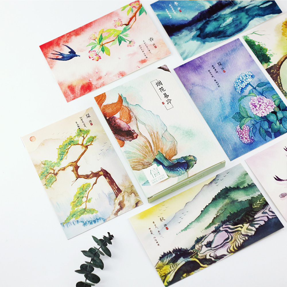 30 Pcs/lot Flowers Birds Landscape Postcard Greeting Card Christmas Card Birthday Card Gift Cards Free Shipping 30 pcs lot novelty yard cat postcard cute animal heteromorphism greeting card christmas card birthday message card gift cards
