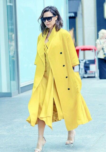 2016 Outono Nova Moda Trench Coat Estilo Celebridade Mulheres Turn-down Collar Double Breasted Meia Manga Plissada Casaco Amarelo OL