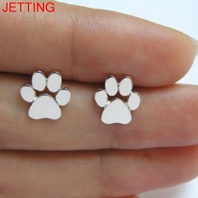 Jetting 1pair Paw Print Earrings For Women Cat And Dog Stud