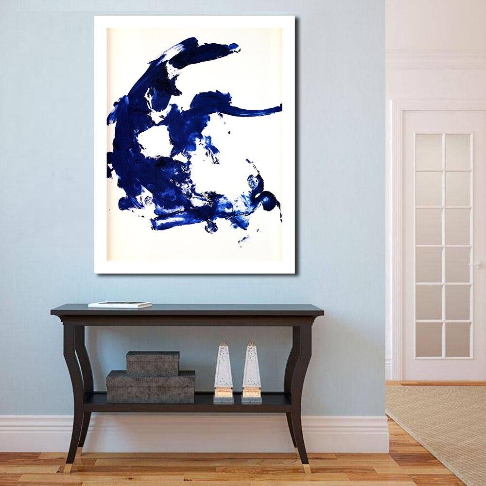 JQHYART Klassische Blau Abstrakte Ölgemälde Home Decor Wand Bilder ...