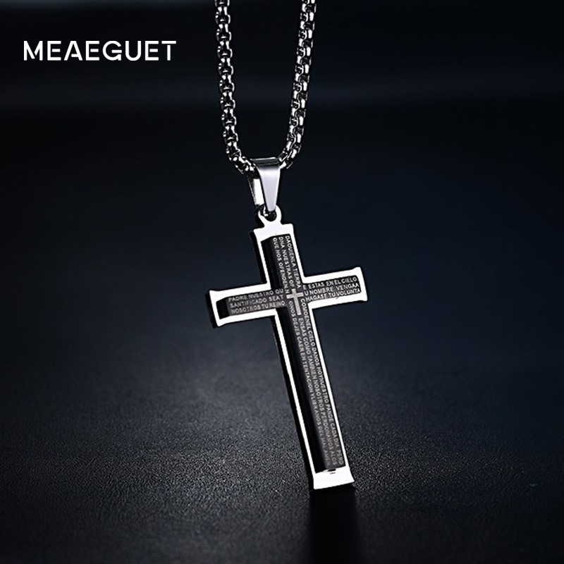 Meaeguet simple mens stainless steel cruz pendants double layer description aloadofball Image collections