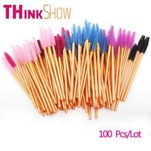 100 Pcs/Lot Eyelash Brushes for Lashes Extension,5 Colors Gold Handle Eyelashes Brushes,Individual Beauty Tools