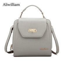 Aliwilliam Новые Известный кожаный рюкзак женские рюкзаки однотонная винтажная для девочек школьные сумки для девочек черные кожаные женские рюкзак