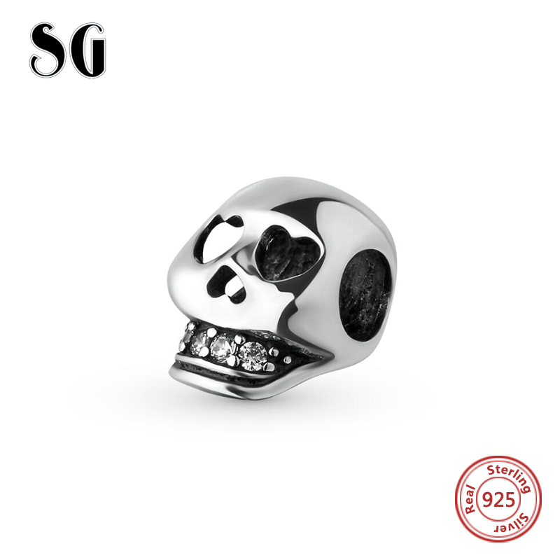 925 Sterling Silver Original Heart Skull with Cubic Zirconia Charm Beads Fits pandora Charms Bracelets DIY Jewelry For Gifts