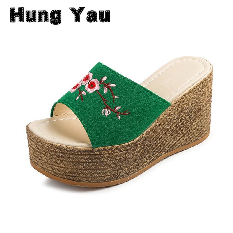 Women Wedges Sandals Retro Embroidery 2017 New Platform Shoes Woman Casual Slip On High Heels Sexy Creepers Slippers Plus Size 9 lanshulan wedges gladiator sandals 2017 summer peep toe platform slippers casual glitters shoes woman slip on flats creepers