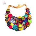 Красочные Африканских Кнопку Ожерелье Африканские Аксессуары для Женщин Богемия Стиль Женщины Веревка Сеть Себе Ожерелье WYS16