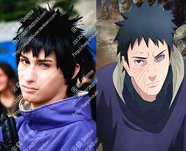 High quality Naruto Tobi Obito Uchiha Cosplay wig + free delivery caps