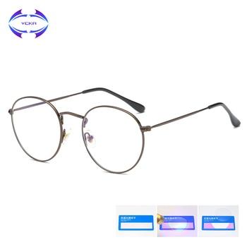 VCKA 2019 New Anti Blue Ray Computer Glasses Men Women Metal Retro Designer Blue Blocking Glasses computer Gaming Glasses