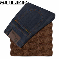 SULEE Brand 2017 Winter The New Version Of Velvet Mens Jeans Casual Jean Trousers Straight Denim