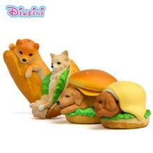 1pc Corgi Dog Hamburger Miniature Figurine cartoon Piggy Figures animal models Pet toy DIY Accessories Doll House Decoration